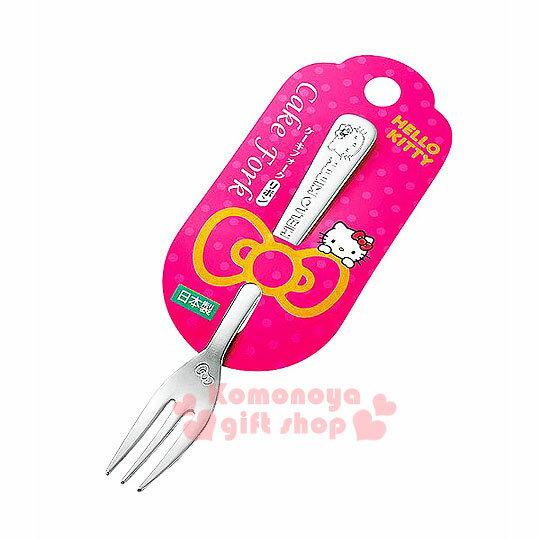 〔小禮堂〕Hello Kitty 日製不鏽鋼叉子《小.銀.大臉》可愛又實用