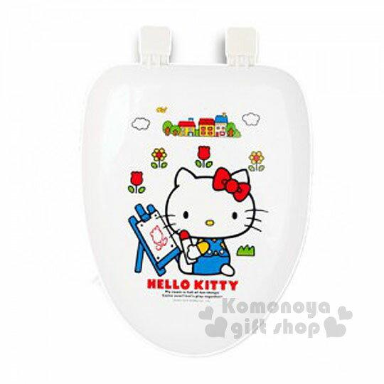 〔小禮堂韓國館〕Hello Kitty 硬式裝飾馬桶蓋《白.花朵.坐姿.塗鴉》輕鬆美化浴室