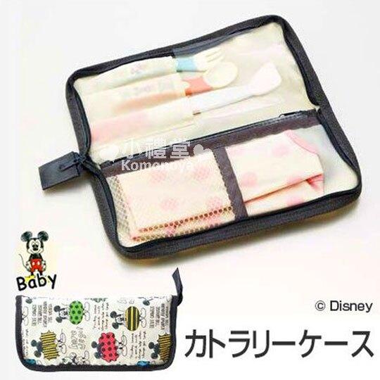 〔小禮堂嬰幼館〕迪士尼 米奇 餐具收納袋《長型.米白.英文滿版》適合放寶寶餐具 0
