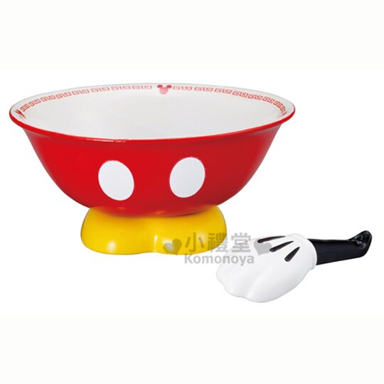〔小禮堂〕迪士尼 米奇 陶瓷拉麵碗組《紅褲》附造型湯匙讓食物更美味
