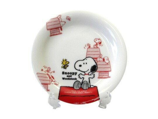【領券折$120】小禮堂 Snoopy 史努比 日製陶瓷蛋糕盤《白.紅屋頂》經典系列