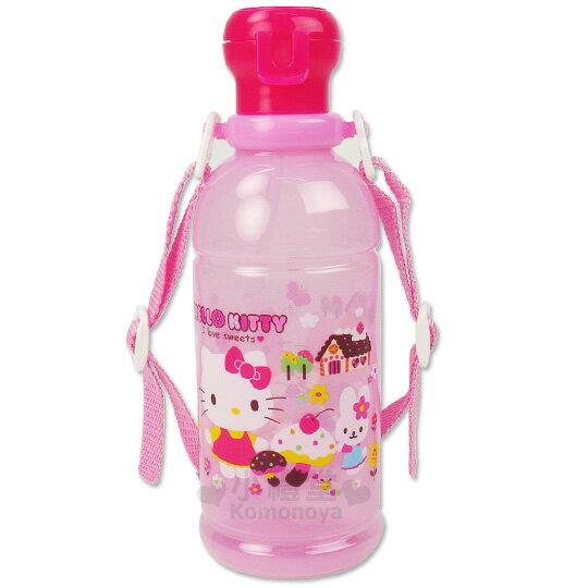 〔小禮堂〕Hello Kitty 日製吸管水壺《透明粉紅.糖果屋》400ml
