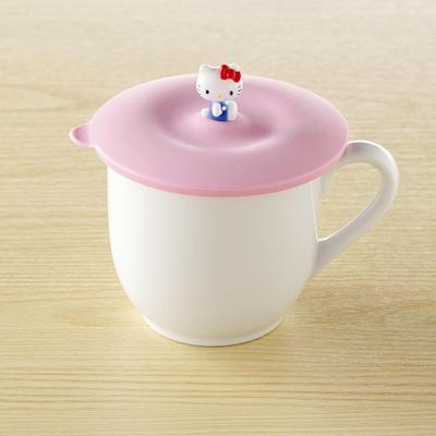 〔小禮堂〕Hello Kitty 矽膠杯蓋~粉紅.圓形~立體KITTY裝飾