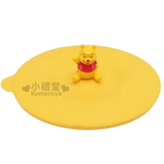 〔小禮堂〕小熊維尼 矽膠杯蓋《黃.坐姿.招手》可保溫.透氣設計