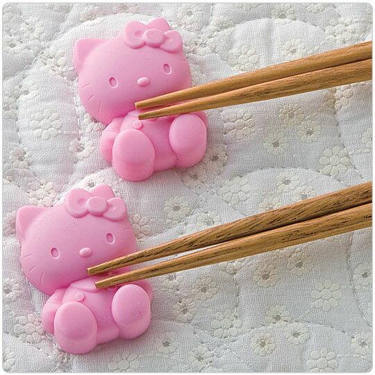 〔小禮堂〕Hello Kitty 矽膠筷架組《2入.粉紅.人形》增添用餐情趣