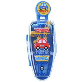 〔小禮堂嬰幼館〕TOMICA警車 三階段學習筷附盒《藍》軟式套環設計