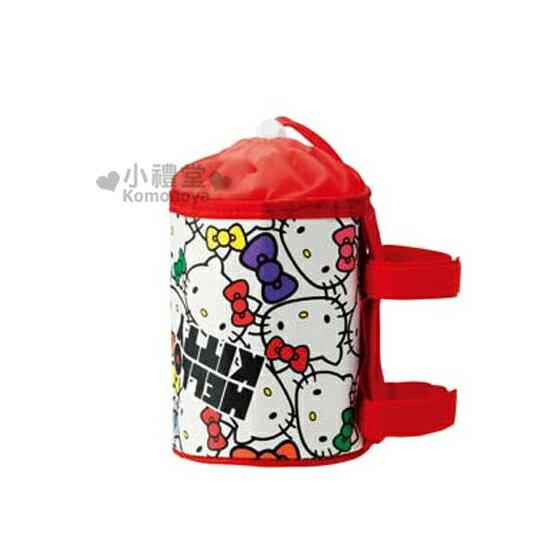 〔小禮堂嬰幼館〕Hello Kitty 嬰兒車專用保溫水壺套《紅.大臉.滿版》束口.內層鋁箔保溫袋
