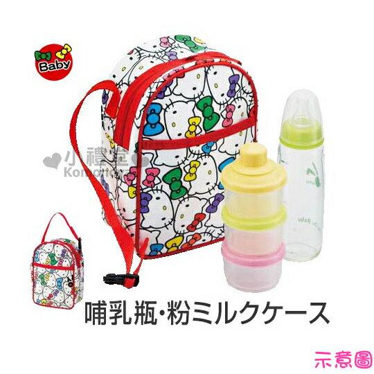 〔小禮堂嬰幼館〕Hello Kitty 奶瓶保溫提袋《白.KT大臉滿版》內層鋁箔保冷袋