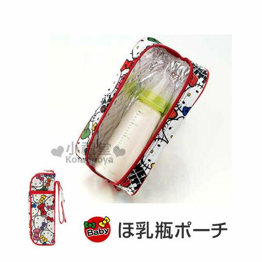 〔小禮堂嬰幼館〕Hello Kitty 不織布奶瓶保溫提袋《紅.KT大臉滿版》內層鋁箔保冷袋