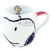 史努比Snoopy商品推薦,史努比馬克杯推薦到〔小禮堂〕Snoopy 史努比 胖胖馬克杯《白.史奴比大臉》也可當湯杯