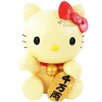 凱蒂貓週邊商品推薦到〔小禮堂〕Hello Kitty 仿木開運存錢筒《招財貓》金銀財寶滾滾來