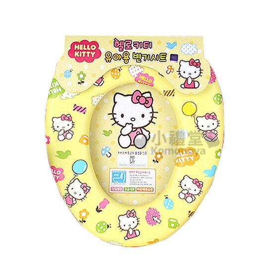 〔小禮堂韓國館〕Hello Kitty 輔助馬桶座《黃.咬手指.汽球》幼兒用