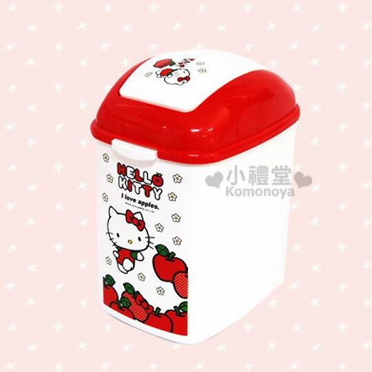〔小禮堂韓國館〕Hello Kitty 長方垃圾桶《白.S.蘋果.小花》輕鬆美化空間