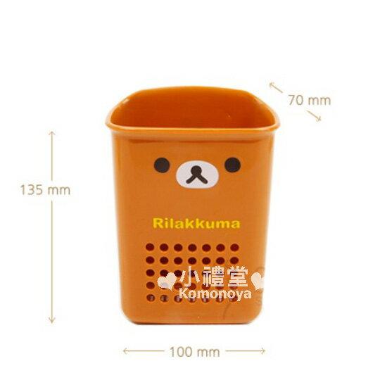 〔小禮堂韓國館〕懶懶熊 浴室收納盒《棕.大臉.洞洞》吸盤式固定設計