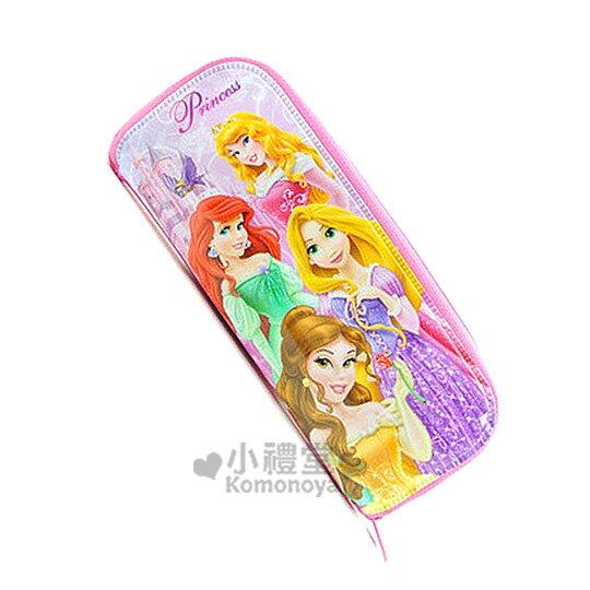 〔小禮堂韓國館〕迪士尼 公主 拉鍊餐具袋《粉紅.城堡.小鳥》耐用好清洗