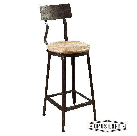 復古LOFT工業風鐵靠背吧檯椅