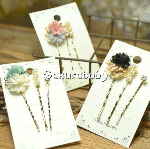 媽咪愛美專區日本進口abeille pierced 布花髮夾 珍珠髮飾 鑽石髮夾 三件組 韓國製造 櫻花寶寶