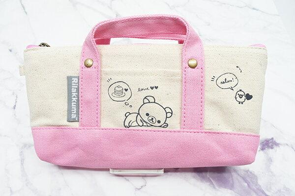 X射線【C193369】懶熊Rilakkuma 提式筆袋-愛心粉,鉛筆盒 筆盒 筆袋 筆筒 文具 收納