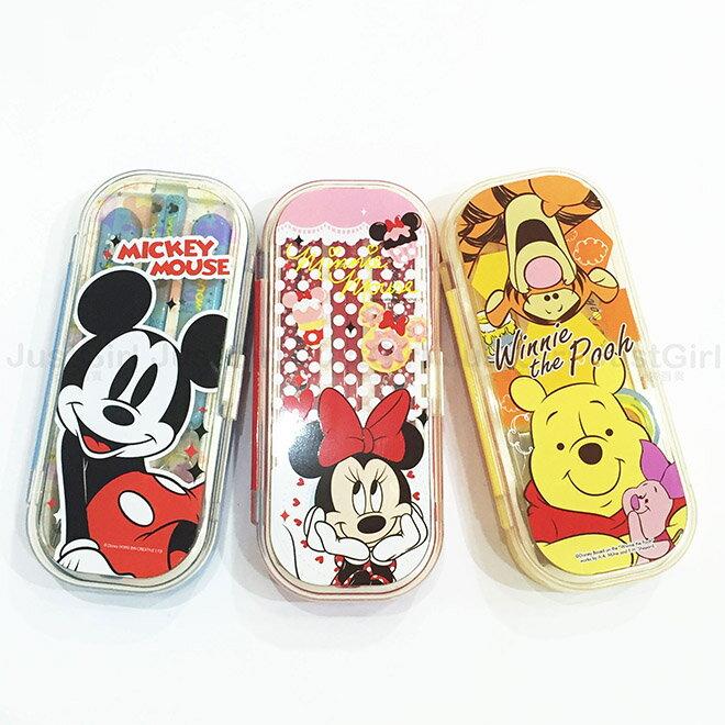 迪士尼 米奇 米妮 小熊維尼 環保餐具組 兒童餐具 筷子 湯匙 叉子 餐具   ^~ Ju