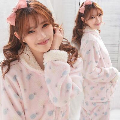 雙層絨毛~頂級珊瑚絨~超可愛小鳳梨-兩件式~睡衣+睡褲-2色(粉、紫)