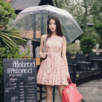 PS Mall韓版碎花雪紡綁帶無袖連身裙 連身洋裝【T568】