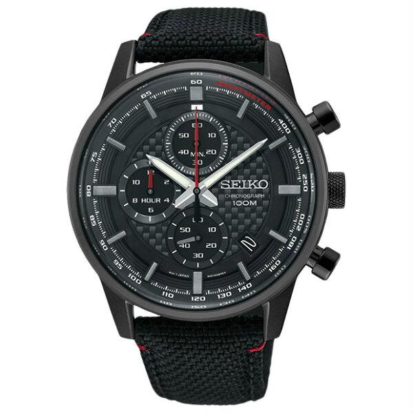 Seiko精工錶8T67-00G0SD(SSB315P1)城市CS系列三眼計時腕錶黑色*黑面42mm