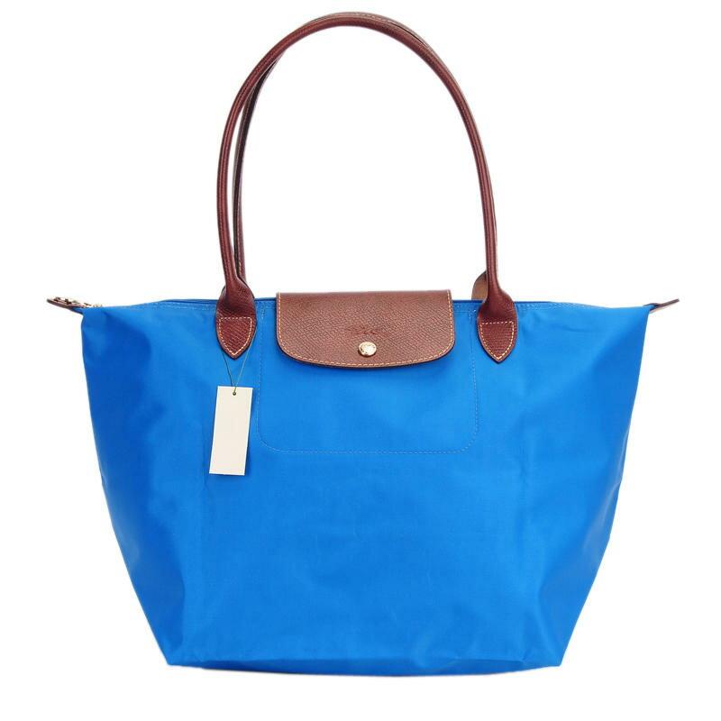 [長柄M號]國外Outlet代購正品 法國巴黎 Longchamp [1899-M號] 長柄 購物袋防水尼龍手提肩背水餃包 佛青藍 0