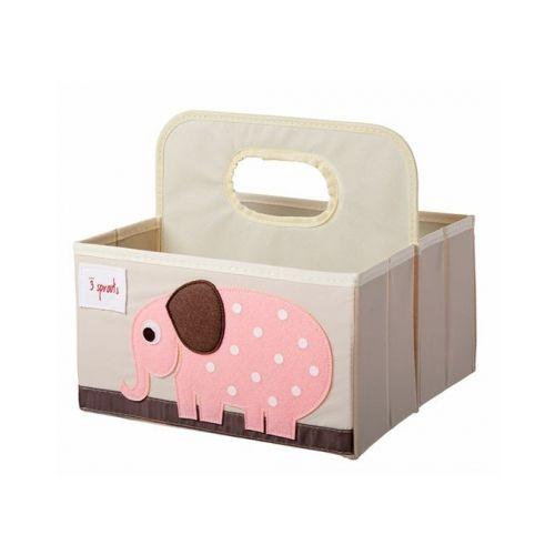 加拿大 3 Sprouts 雙面手提籃-粉色大象( 款雙面可收納)★愛兒麗婦幼用品★