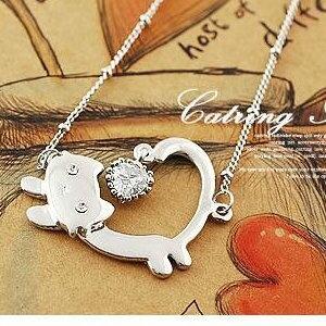 美麗大街【S246】熱賣公主可愛貓咪鑽石項鍊