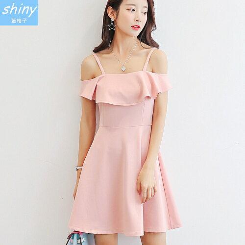 【V8202】shiny藍格子-清甜春華.純色露帶細肩帶連身裙