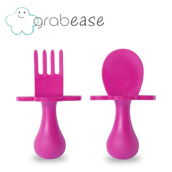 美國 grabease 嬰幼兒奶嘴匙叉組-亮麗粉