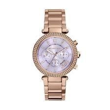 【MICHAEL KORS】正品 玫瑰金 粉紫鑽錶 三眼計時 MK6169 0