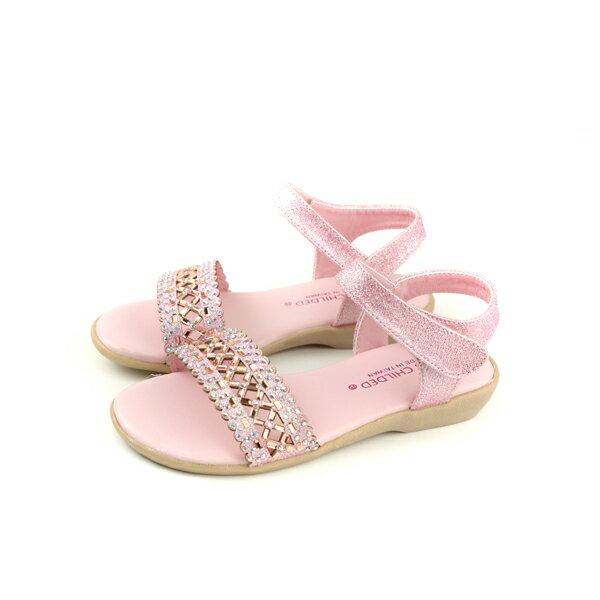 KINGCHILDED小女生鞋涼鞋水鑽粉紅色童鞋no167