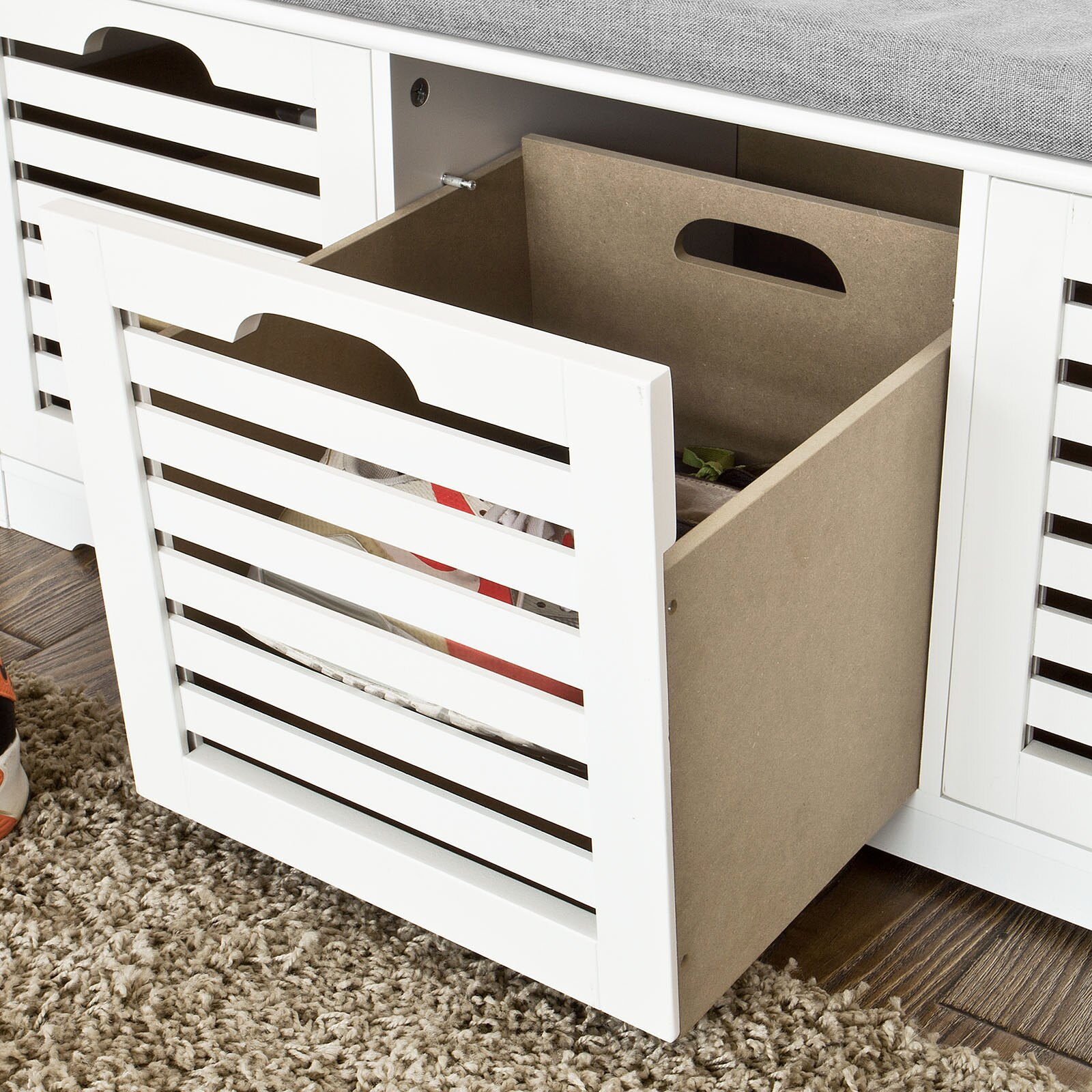 Haotian FSR23-W,Storage Bench with 3 Crates, Shoe Cabinet Shoe Bench with Soft Seat Cushion 4