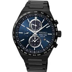 SEIKO SPIRIT簡約率性太陽能計時腕錶/黑鋼/V195-0AE0A