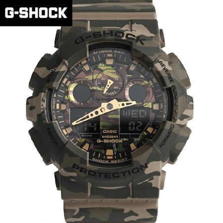 G-SHOCK 綠迷彩雙顯手錶 柒彩年代【NECG18】casio
