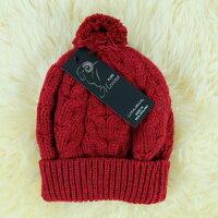 保暖配件推薦紐西蘭100%純羊毛帽*毛球麻花粗針織毛線帽*深紅色(美麗諾Merino)
