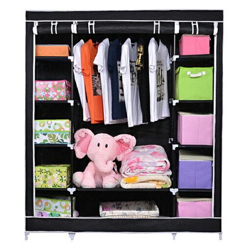 Nex® DIY Wardrobe Clothing Closet Easy Assembly Storage Organizer U0026 Shoe  Rack  Black 0