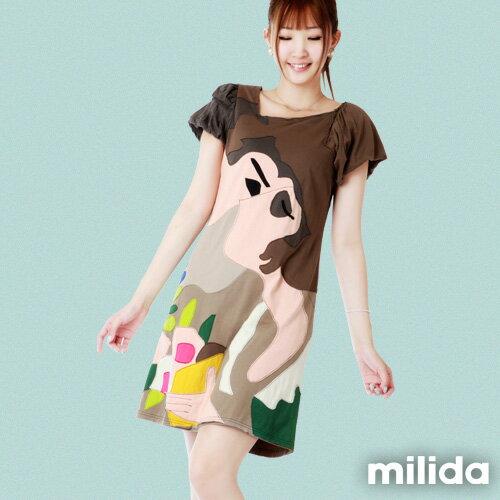 【Milida,全店七折免運】-斜領氣質經典款洋裝 0