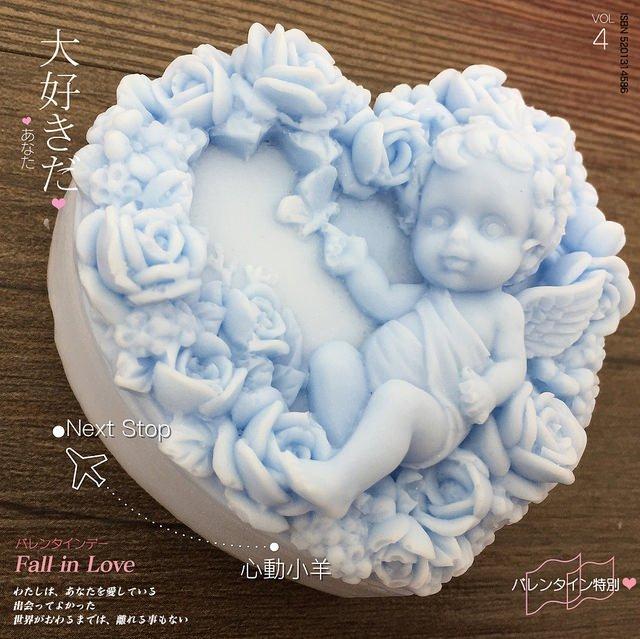 心動小羊^^DIY手工皂工具矽膠模具肥皂香皂模型矽膠皂模藝術皂模具玫瑰邱比特(單孔)