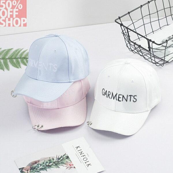 50%OFFSHOP帽子棉質刺繡字母鐵環鴨舌棒球帽天情侶帽戶外帽(3色)【E034553H】