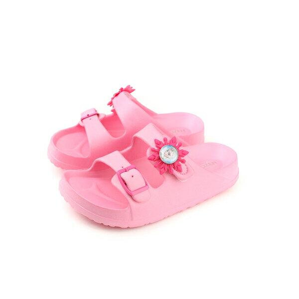 冰雪奇緣ElsaAnna勃肯鞋涼鞋拖鞋式雨天防水粉紅色中童FOKS74063no619