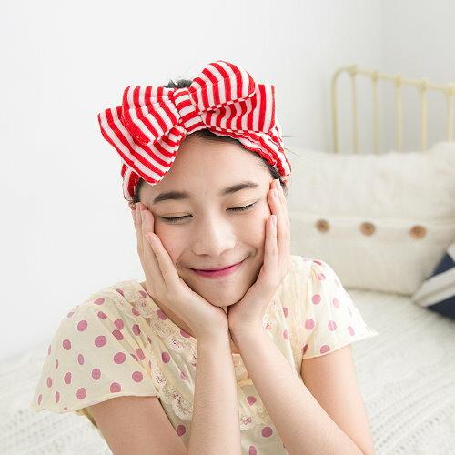 波波小百合 W N 667日本海軍風條紋雙蝴蝶結包頭巾條紋 束髮帶 可愛化妝洗臉美容瑜伽束髮帶