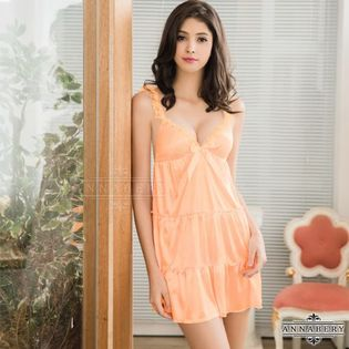 星光密碼【B078】大尺碼迷人粉橘蕾絲肩帶蛋糕裙襬柔緞情趣性感睡衣