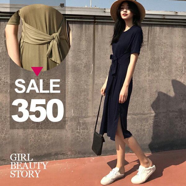 SISI~D7067~慵懶休閒圓領寬鬆短袖壓皺垂感修身綁帶縮腰開叉連身裙中長款洋裝
