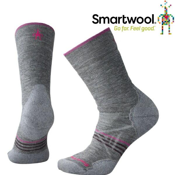 Smartwool羊毛襪排汗襪保暖襪子美麗諾羊毛女款PhD戶外中級減震中長襪SW01064052中性灰