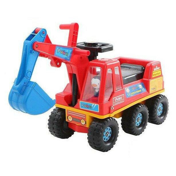 麗嬰兒童玩具館~藍色企鵝puku-寶貝騎乘工程車-挖土機腳行車助步車 0