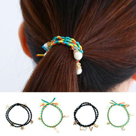 韓版 珍珠水鑽吊飾髮束 四色黑色 手環 LOVE 字母 星星 髮飾 髮圈 髮繩 橡皮筋【N200783】