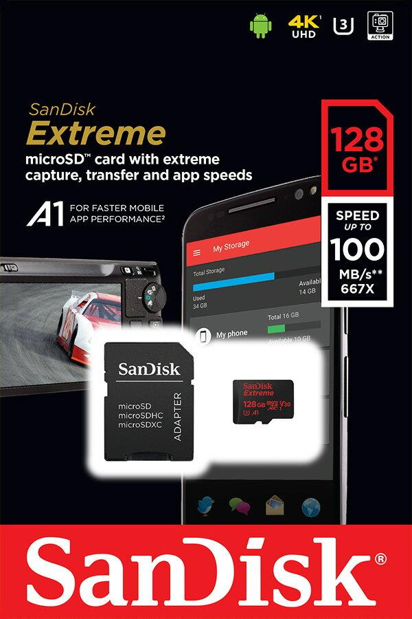 SanDisk Extreme 128GB microSDXC 100MB/s A1 Class10 C10 U3 UHS-I 4K 667X 128G microSD micro SD SDXC Flash Memory Card SDSQXAF-128G 2