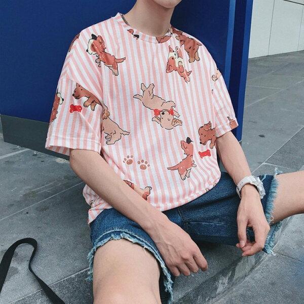 FINDSENSEG6韓國時尚夏季寬鬆圓領五分袖素面T衫潮男青少年短袖T恤